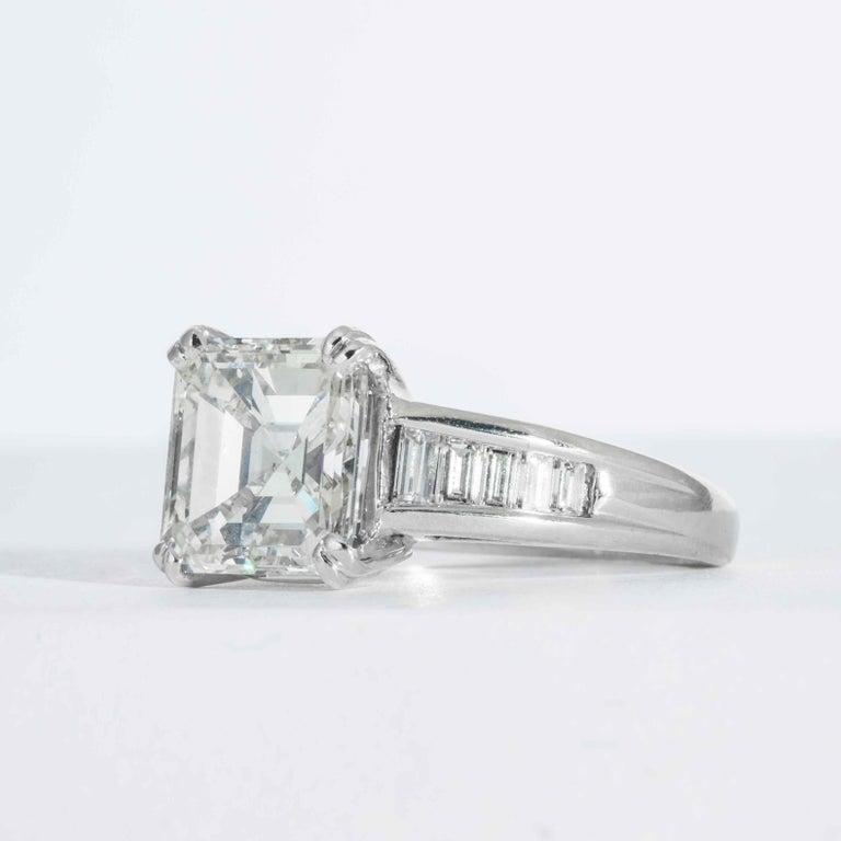 Square Cut Shreve, Crump & Low GIA Certified 5.01 Carat Square Emerald Cut Diamond Ring For Sale
