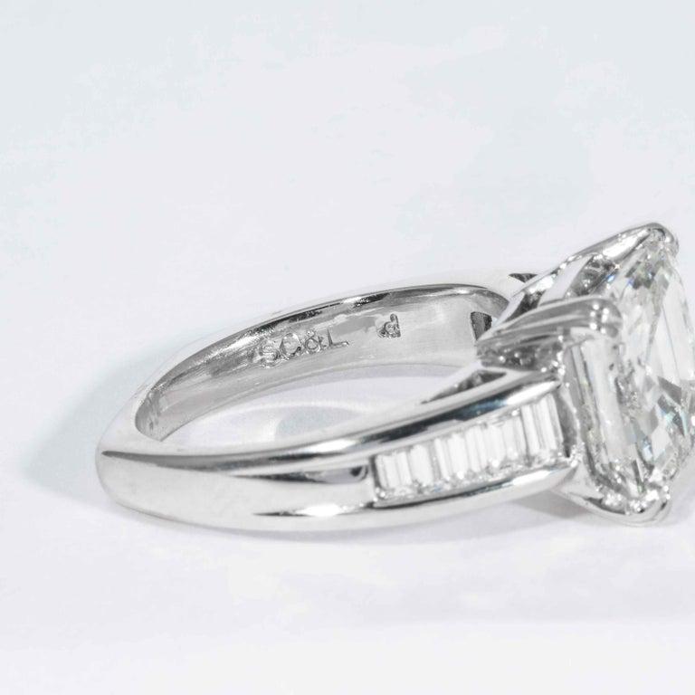 Women's Shreve, Crump & Low GIA Certified 5.01 Carat Square Emerald Cut Diamond Ring For Sale