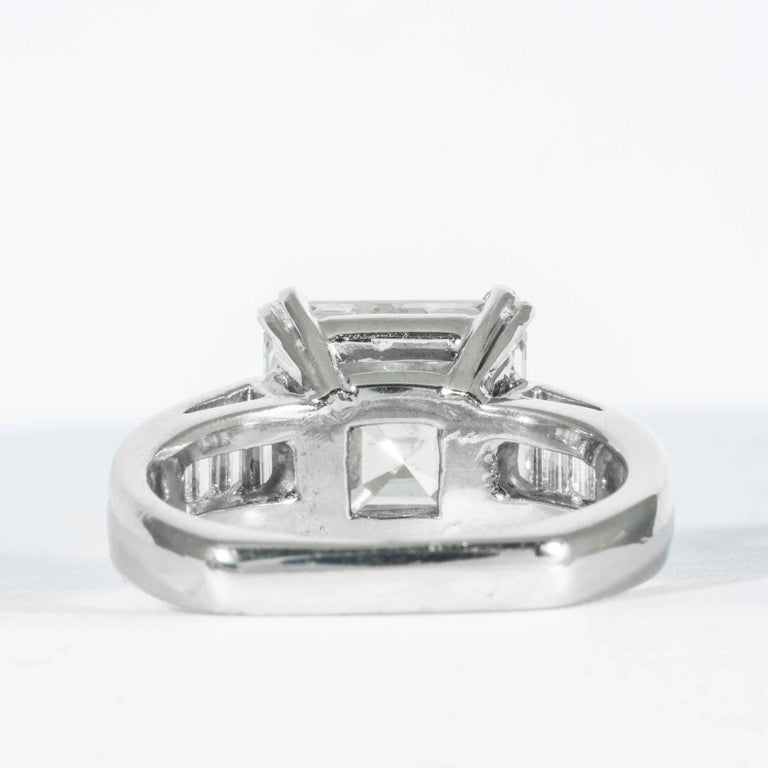 Shreve, Crump & Low GIA Certified 5.01 Carat Square Emerald Cut Diamond Ring For Sale 1