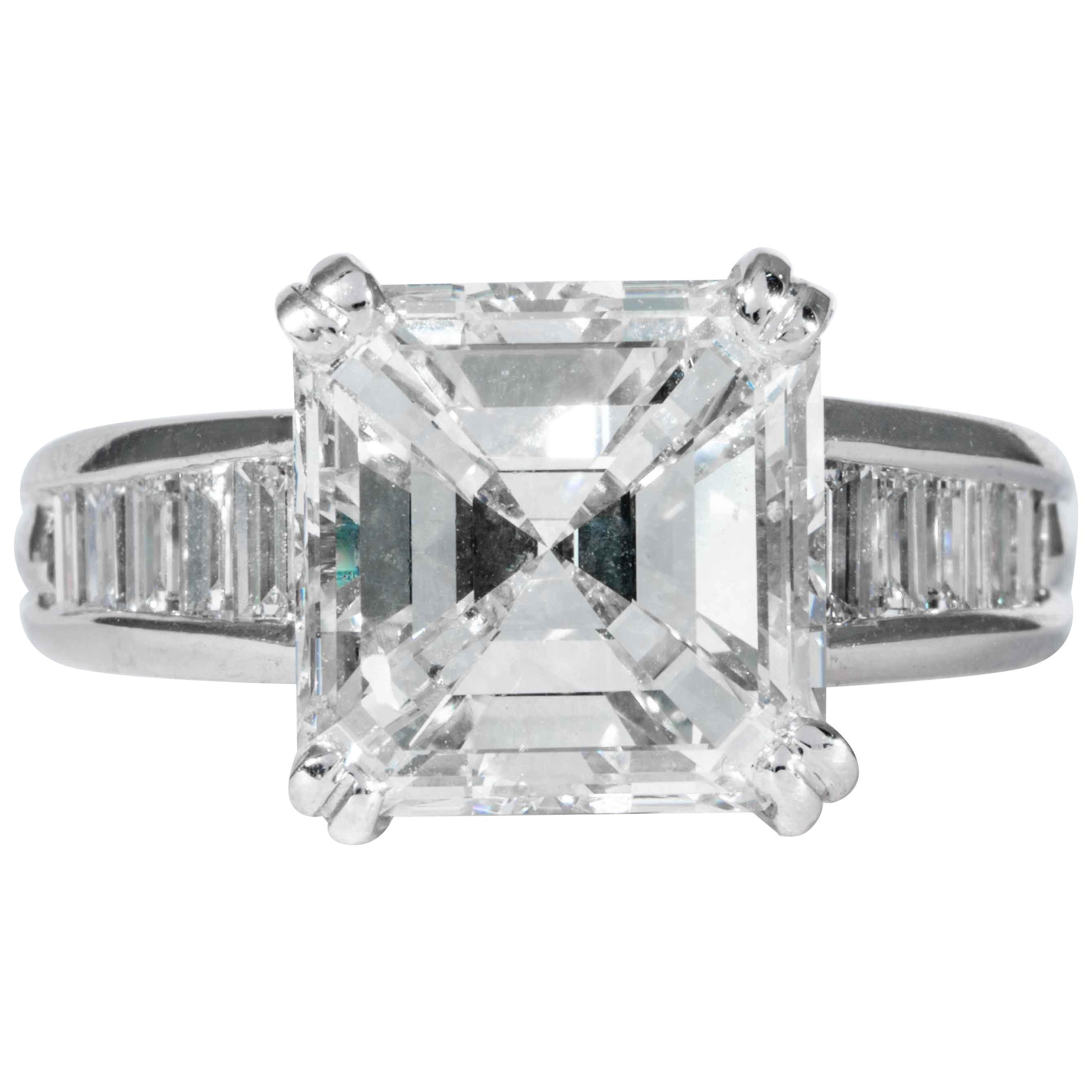Shreve, Crump & Low GIA Certified 5.01 Carat Square Emerald Cut Diamond Ring
