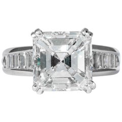 Shreve, Crump & Low GIA Certified 5.01 Carat Square Emerald Cut Diamond Ring
