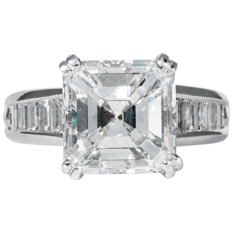 Shreve, Crump & Low GIA Certified 5.01 Carat Square Emerald Cut Diamond Ring For Sale