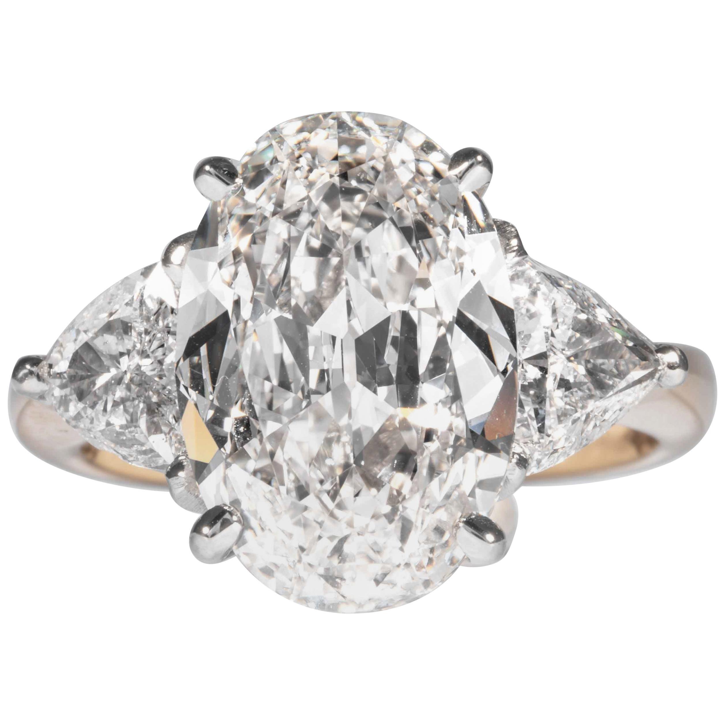 Shreve, Crump & Low GIA Certified 5.03 Carat H VS1 Oval Cut Diamond 3-Stone Ring