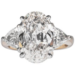 Shreve, Crump & Low GIA Certified 5.03 Carat H VS1 Oval Cut Diamond 3-Stone Ring