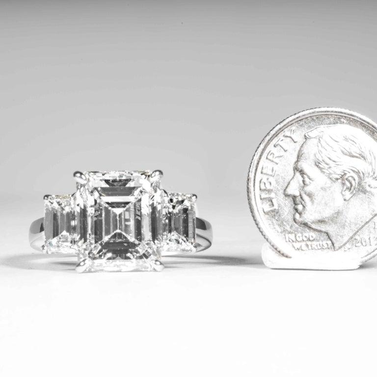 Shreve, Crump & Low GIA Certified 5.05 Carat J VVS2 Emerald Cut Diamond Ring For Sale 4