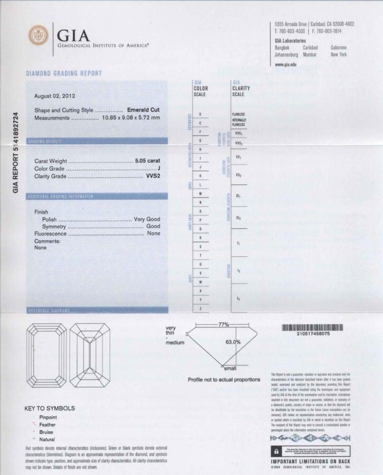 Shreve, Crump & Low GIA Certified 5.05 Carat J VVS2 Emerald Cut Diamond Ring For Sale 5