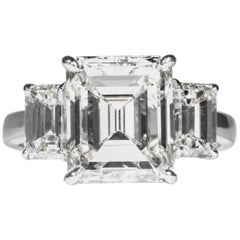 Shreve, Crump & Low GIA Certified 5.05 Carat J VVS2 Emerald Cut Diamond Ring