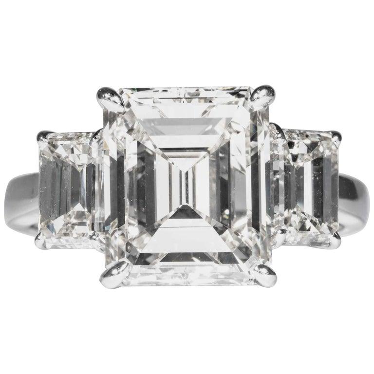 Shreve, Crump & Low GIA Certified 5.05 Carat J VVS2 Emerald Cut Diamond Ring For Sale