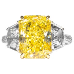 Shreve, Crump & Low GIA Certified 5.07 Carat Fancy Intense Yellow Diamond Ring