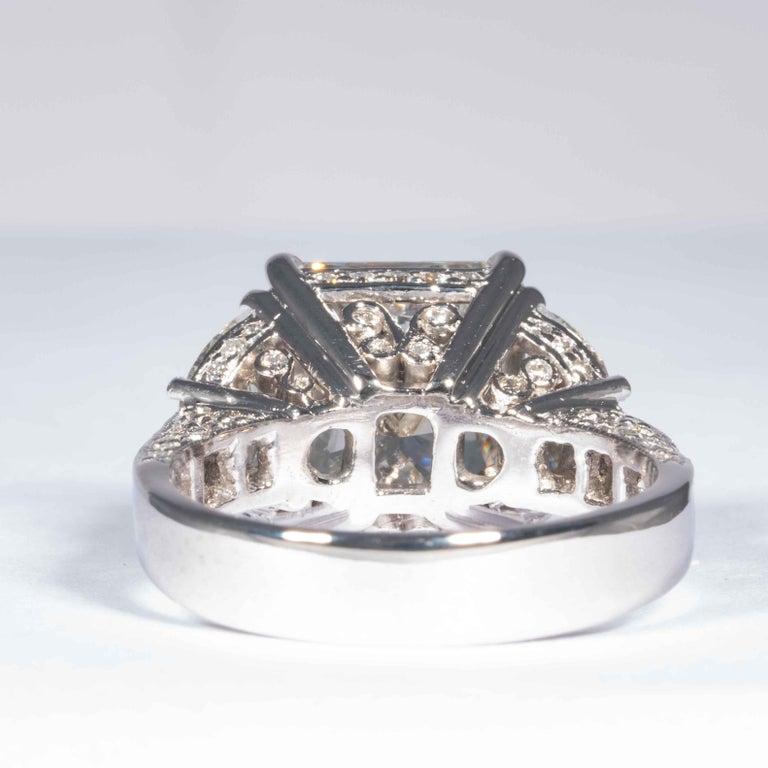 Shreve, Crump & Low GIA Certified 5.07 Carat I VS2 Radiant Cut Diamond Plat Ring For Sale 1