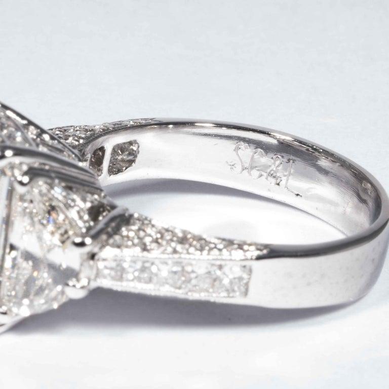 Shreve, Crump & Low GIA Certified 5.07 Carat I VS2 Radiant Cut Diamond Plat Ring For Sale 3