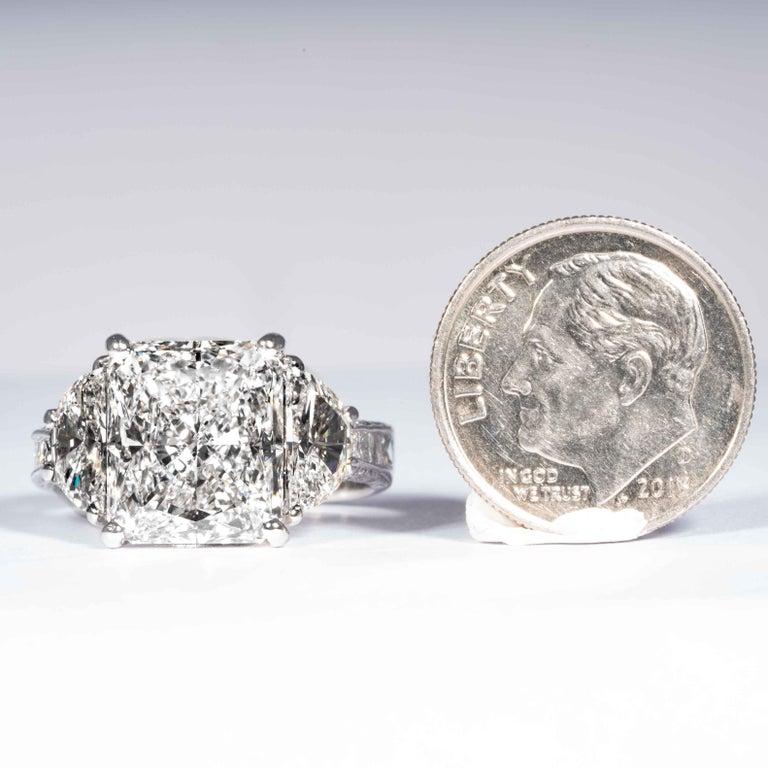 Shreve, Crump & Low GIA Certified 5.07 Carat I VS2 Radiant Cut Diamond Plat Ring For Sale 4