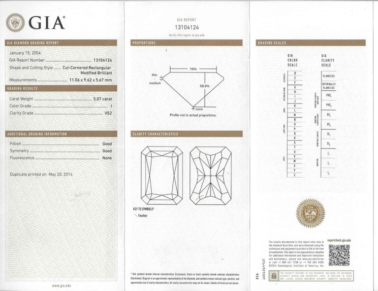 Shreve, Crump & Low GIA Certified 5.07 Carat I VS2 Radiant Cut Diamond Plat Ring For Sale 5