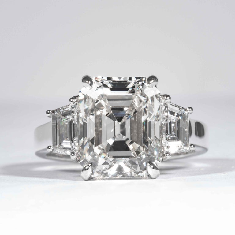 This diamond ring is offered by Shreve, Crump & Low. This 5.13 carat GIA Certified J VS2 emerald cut diamond measuring 10.98 x 8.88 x 6.32 mm is custom set in a handcrafted Shreve, Crump & Low platinum 3-stone ring. The 5.13 carat emerald cut center