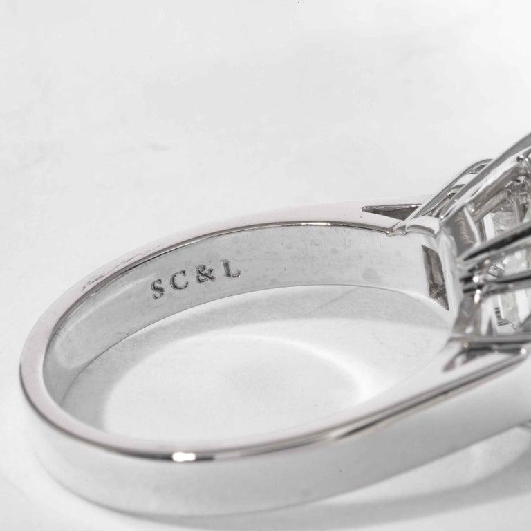 Shreve, Crump & Low GIA Certified 5.13 Carat J VS2 Emerald Cut Diamond Plat Ring For Sale 3