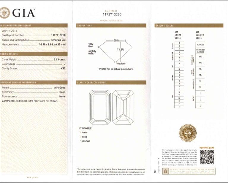 Shreve, Crump & Low GIA Certified 5.13 Carat J VS2 Emerald Cut Diamond Plat Ring For Sale 4