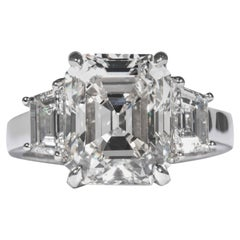 Shreve, Crump & Low GIA Certified 5.13 Carat J VS2 Emerald Cut Diamond Plat Ring