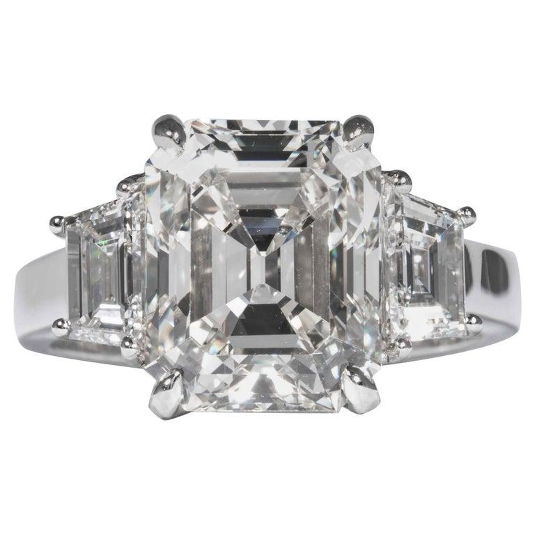 Shreve, Crump & Low GIA Certified 5.13 Carat J VS2 Emerald Cut Diamond Plat Ring For Sale
