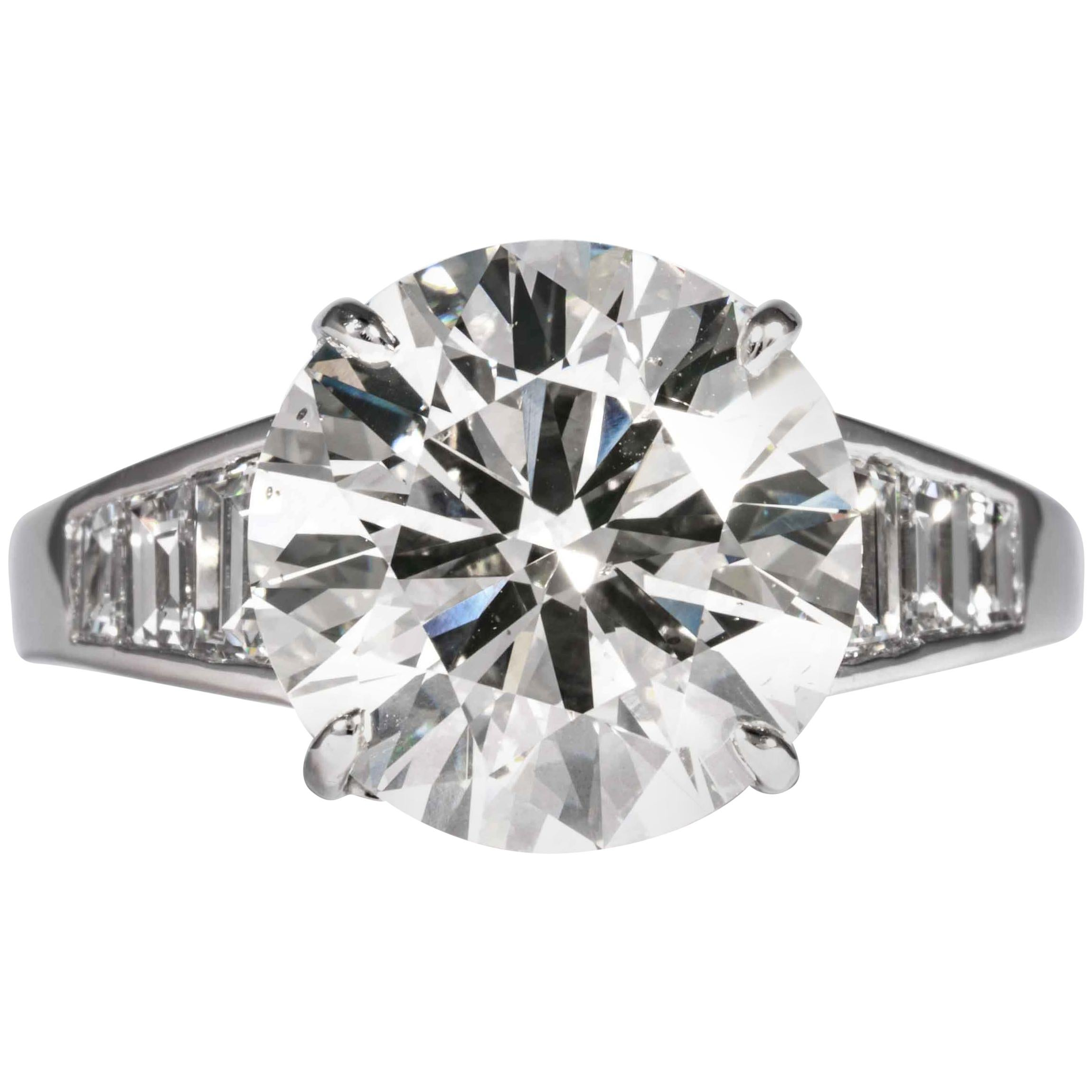 Shreve, Crump & Low GIA Certified 5.60 Carat J SI1 Round Brilliant Diamond Ring