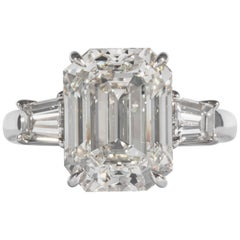 Shreve, Crump & Low GIA Certified 6.41 Carat J SI1 Emerald Cut Diamond Plat Ring