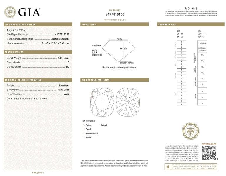 Shreve, Crump & Low GIA Certified 7.01 Carat G SI2 Cushion Cut Diamond Ring For Sale 4