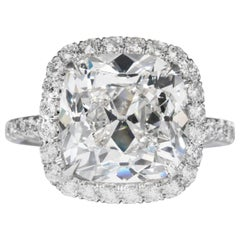 Shreve, Crump & Low GIA Certified 7.01 Carat G SI2 Cushion Cut Diamond Ring