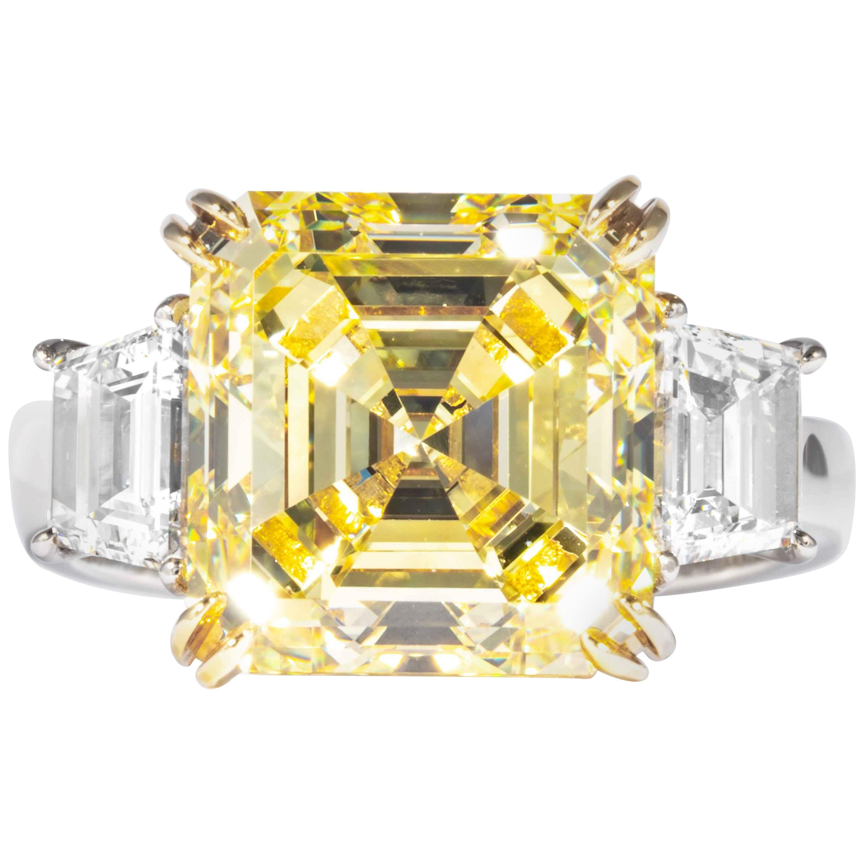 Shreve, Crump & Low GIA Certified 7.03 Ct Fancy Yellow Square Cut Diamond Ring