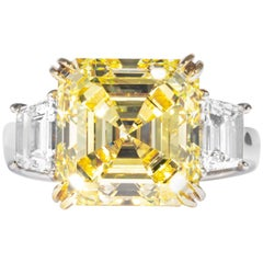 Shreve, Crump & Low GIA Certified 7.03 Ct Fancy Yellow Square Cut Diamond Ring