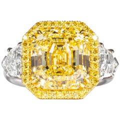 Shreve, Crump & Low GIA Certified 8.02 Carat Fancy Yellow Asscher Diamond Ring