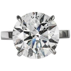Shreve, Crump & Low GIA Certified 8.04 Carat F S12 Round Brilliant Diamond Ring