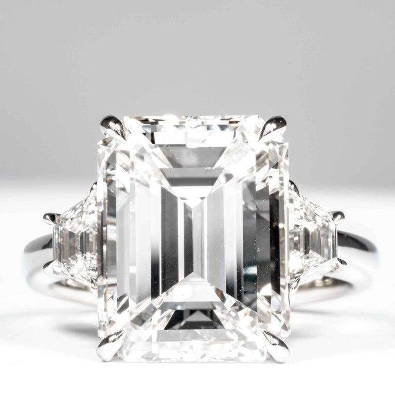 Shreve, Crump & Low GIA Certified 8.97 Carat G VS2 Emerald Cut Diamond Ring In New Condition For Sale In Boston, MA