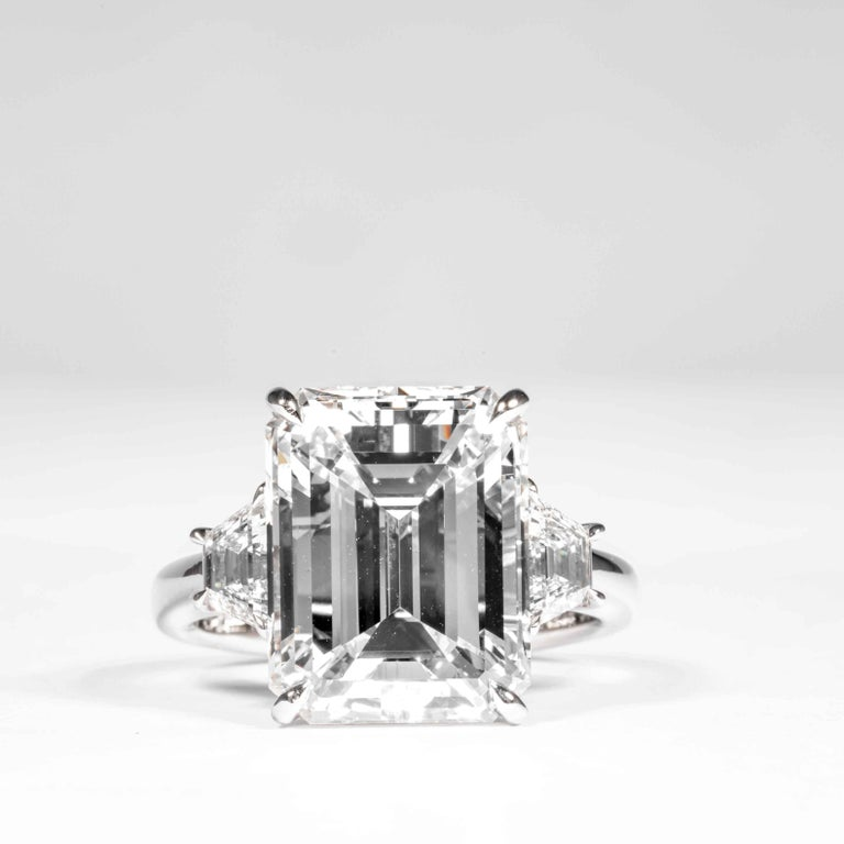 This 3-Stone diamond ring is offered by Shreve, Crump & Low. This 8.97 carat GIA Certified G VS2 emerald cut diamond measuring 13.70 x 10.64 x 6.95mm is custom set in a handcrafted Shreve, Crump & Low platinum 3-stone ring. The 8.97 carat emerald