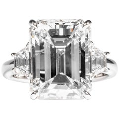Shreve, Crump & Low GIA Certified 8.97 Carat G VS2 Emerald Cut Diamond Ring