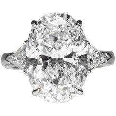 Shreve, Crump & Low GIA Certified 9.08 Carat F SI2 Oval Cut Diamond 3-Stone Ring
