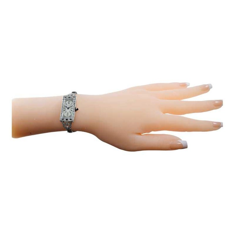 Shreve Ladies Platinum Art Deco Diamond Watch, circa 1930s For Sale 6