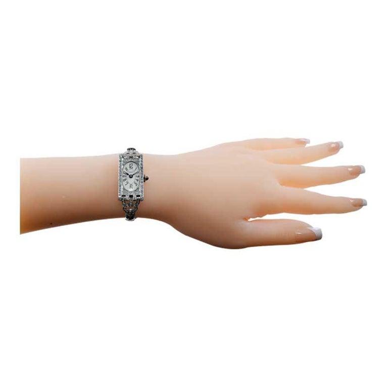 Shreve Ladies Platinum Art Deco Diamond Watch, circa 1930s For Sale 7