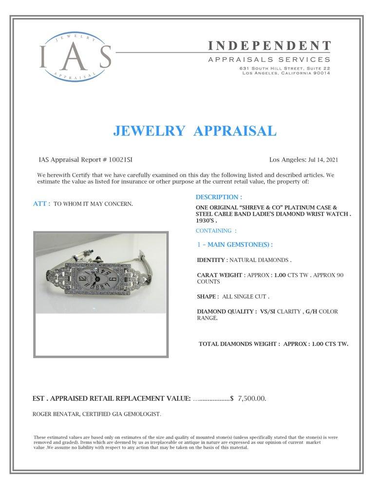 Shreve Ladies Platinum Art Deco Diamond Watch, circa 1930s For Sale 8
