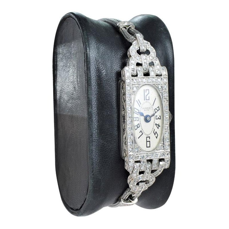 FACTORY / HOUSE: Gruen for Shreve and Company STYLE / REFERENCE: Art Deco / Dress Watch METAL / MATERIAL: Platinum / Metal Cord Bracelet DIMENSIONS: 55mm X 16mm CIRCA: 1930's MOVEMENT / CALIBER: Manual Winding / 18 Jewels / High Grade Hand Finished