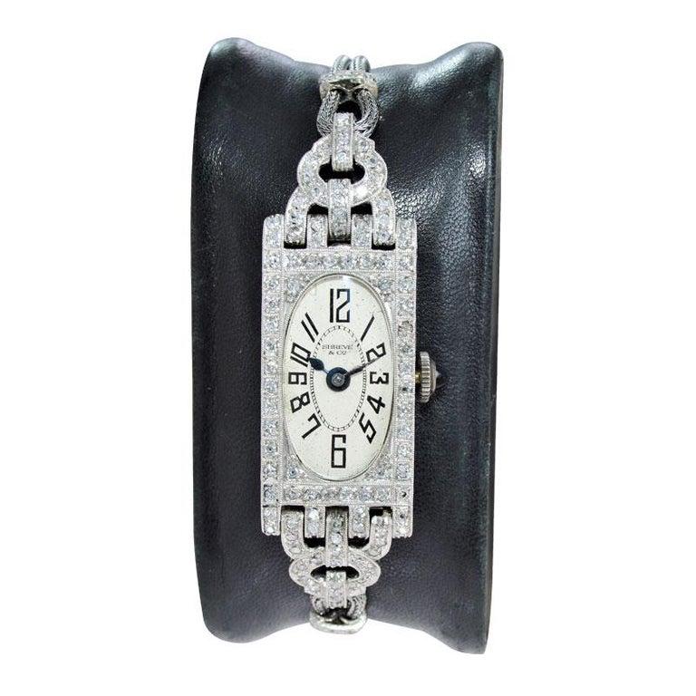 Shreve Ladies Platinum Art Deco Diamond Watch, circa 1930s In Excellent Condition For Sale In Long Beach, CA