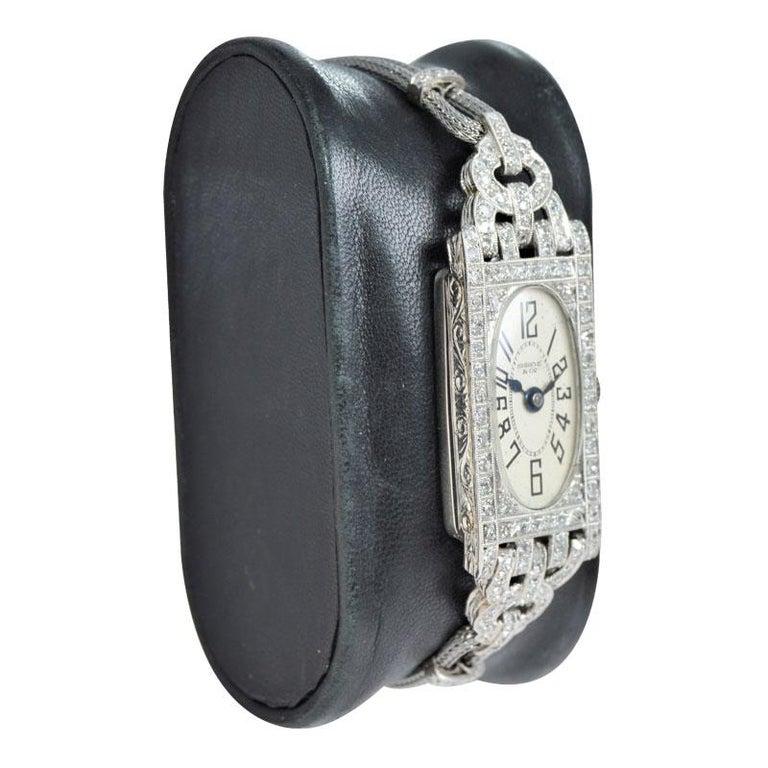 Women's Shreve Ladies Platinum Art Deco Diamond Watch, circa 1930s For Sale