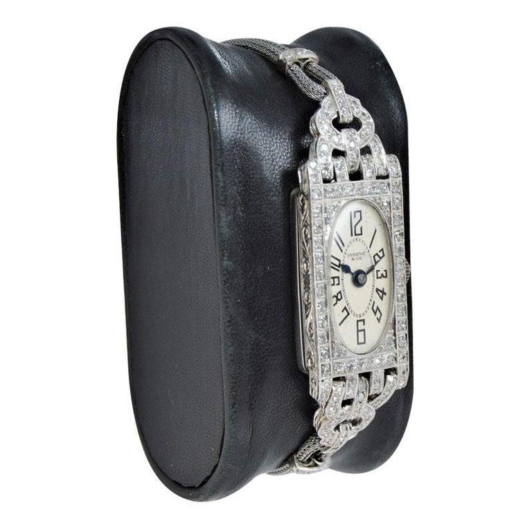 Shreve Ladies Platinum Art Deco Diamond Watch, circa 1930s For Sale 1