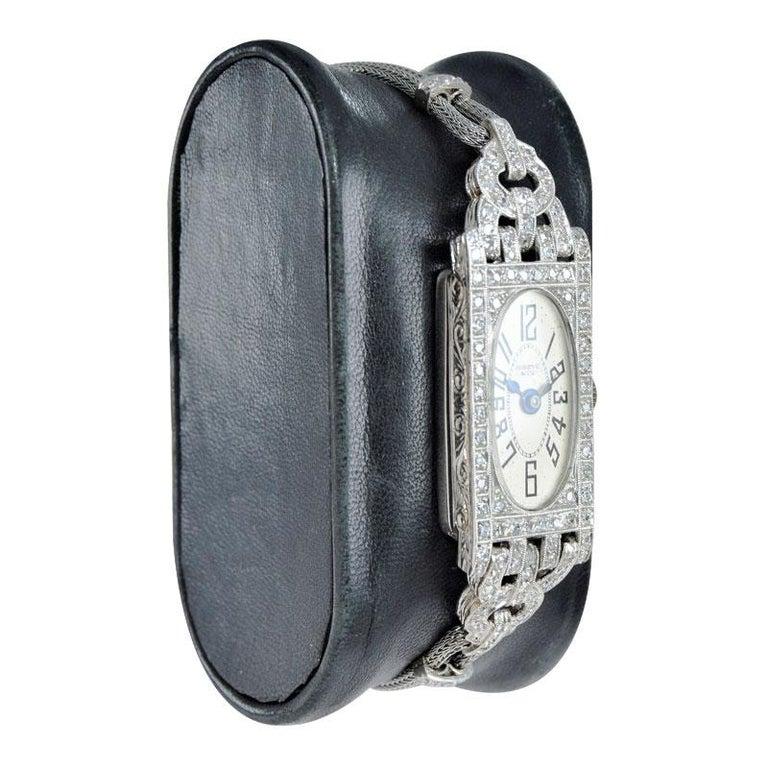 Shreve Ladies Platinum Art Deco Diamond Watch, circa 1930s For Sale 2