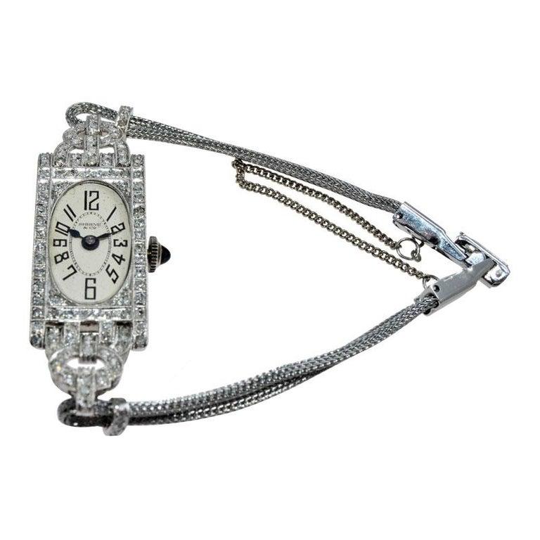 Shreve Ladies Platinum Art Deco Diamond Watch, circa 1930s For Sale 4