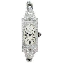 Shreve Ladies Platinum Art Deco Diamond Watch, circa 1930s