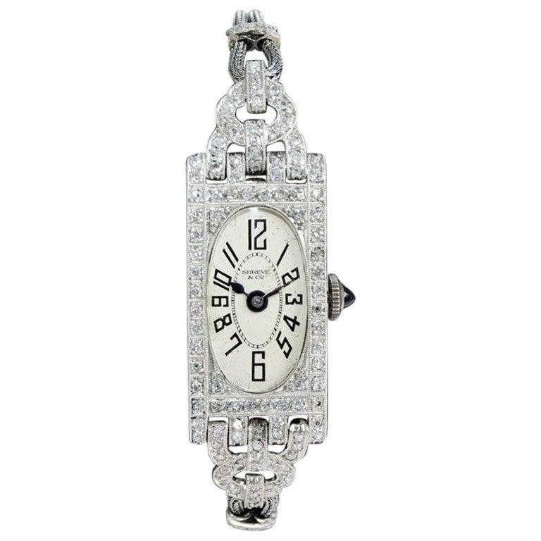 Shreve Ladies Platinum Art Deco Diamond Watch, circa 1930s For Sale