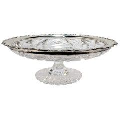 Shreve Sterling Silver Mounted American Brilliant Period Cut Glass Compote