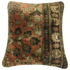 Shrimp Color Persian Sarouk Rug Pillow
