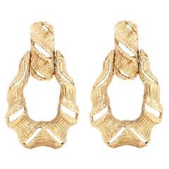 Shrimp Open Hoop 14 Karat Gold Earrings