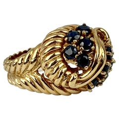 "Ring with 10 Round Sapphires-14 Karat Yellow Gold-""Shrimp"" Style"