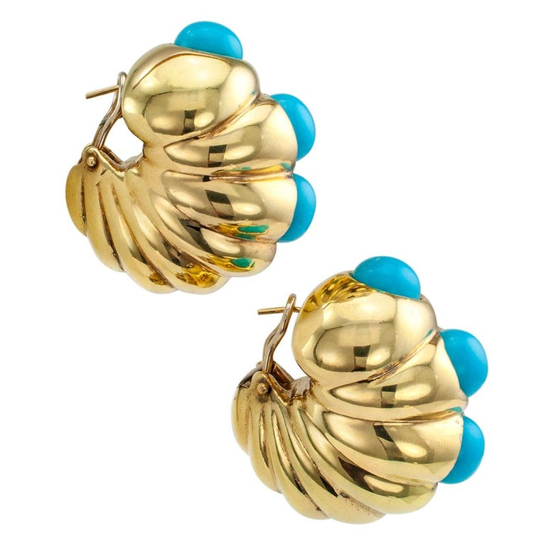 Modern Shrimp Style Turquoise Gold Hoop Earrings For Sale